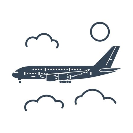 black icon passenger airplane flying above clouds