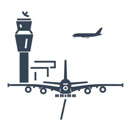 black icon airport control tower, aircraft 向量圖像
