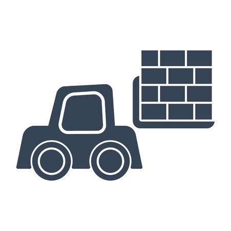 black icon forklift loader, pallet stacker truck