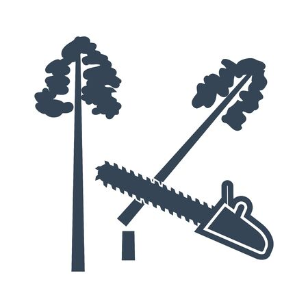 black icon lumber, wood, logging industry, felling of trees, saw Illustration