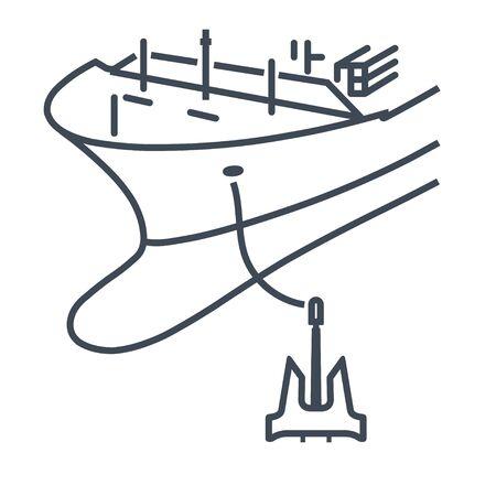 Thin line icon anchored ship, boat  イラスト・ベクター素材