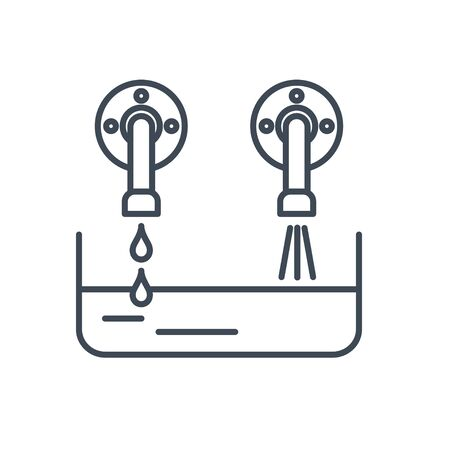 Thin line icon pouring water from a tap and mixing