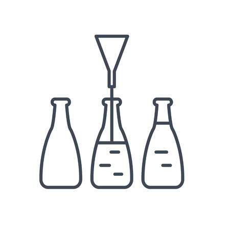 Thin line icon beverages industry, bottling, pouring drinks  イラスト・ベクター素材