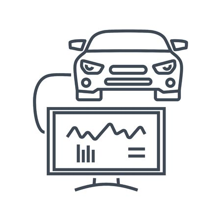 Thin line icon car repair service, maintenance, computer diagnostic scan tool, electrical, electronic car systems  イラスト・ベクター素材