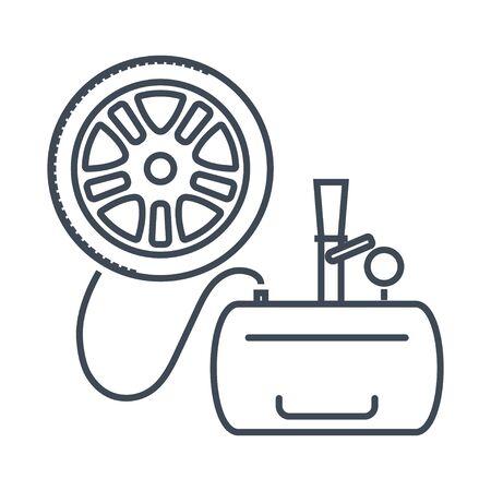 Thin line icon car repair service, maintenance, inflating tire, wheel, air compressor, pressure monitoring, tread
