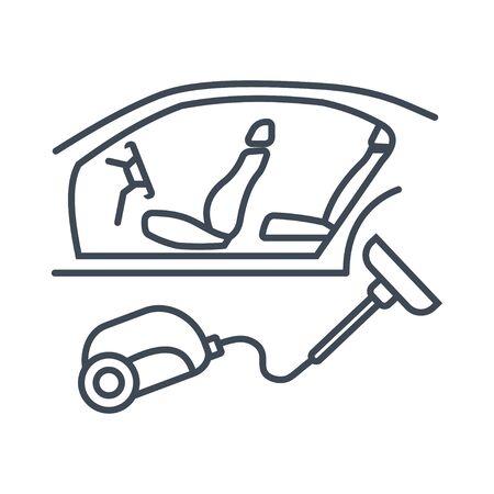 Thin line icon car repair service, maintenance, car interior cleaning, vacuum cleaner  イラスト・ベクター素材