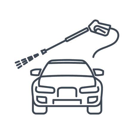 Thin line icon car repair service, maintenance,  manual car washing  イラスト・ベクター素材