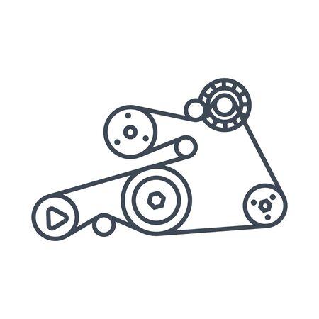 Thin line icon car engine repair, service, maintenance