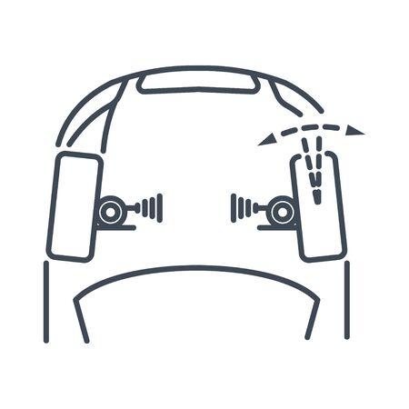 Thin line icon car repair service, maintenance, wheel alignment, adjustment of toe angle