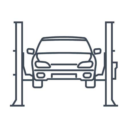 Thin line icon car repair lift, service, maintenance Vettoriali