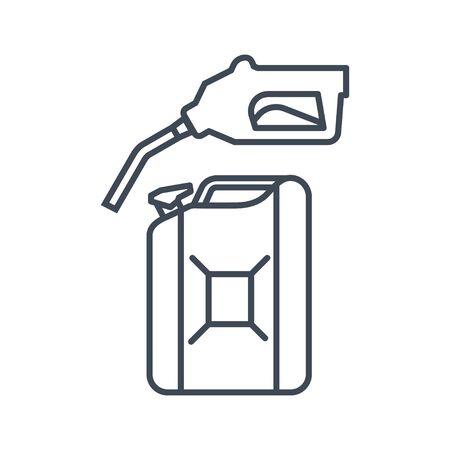 Thin line icon gas station, gasoline pump nozzle, fuel can Ilustracja