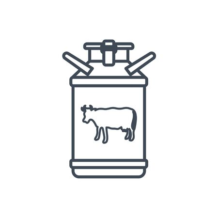Thin line icon manufacture of dairy products, milk churn, cow