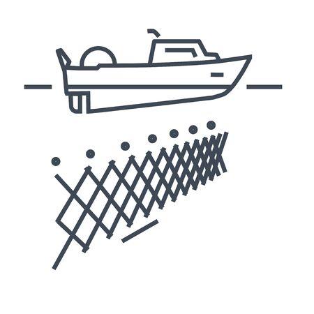 Thin line icon fishing boat, fishnet