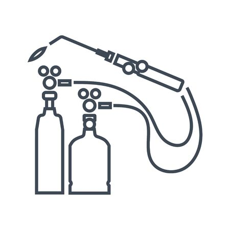 Thin line icon gas welding, car repair service, cylinder