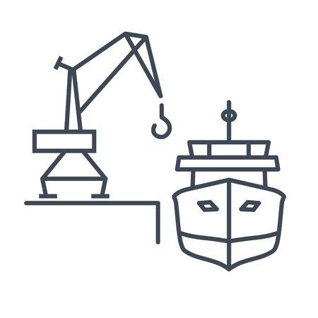 Thin line icon loading and unloading cargo ship, harbor crane