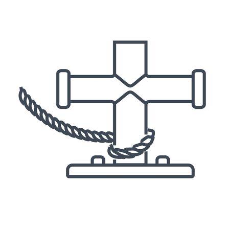 Thin line icon mooring bollard at port, harbor  イラスト・ベクター素材