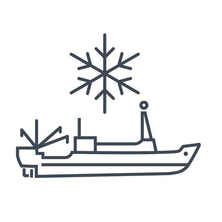 Thin line icon sea refrigerator ship, trawler, seiner  イラスト・ベクター素材