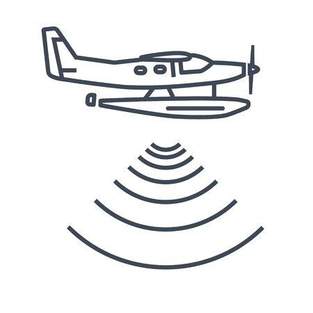 Thin line icon seaplane, hydroplane, radar