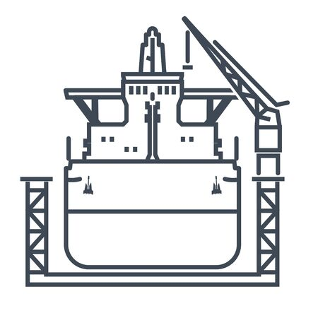 Thin line icon ship in floating dry dock