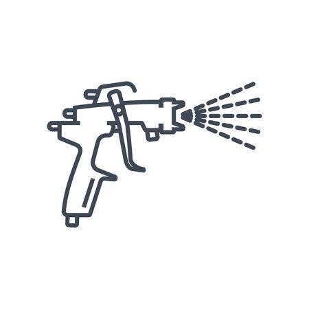 Thin line icon paint spray gun, airbrush, car repair service  イラスト・ベクター素材