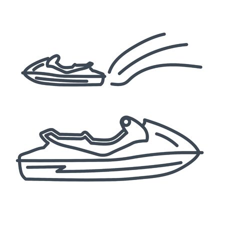 Thin line icon water scooter, personal watercraft Ilustracja