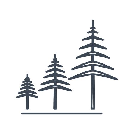 Thin line icon forestry and silviculture, growing trees