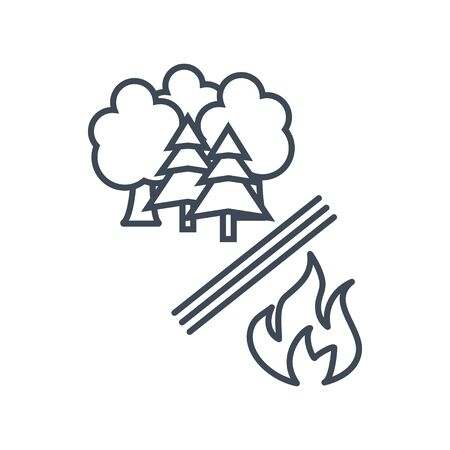 Thin line icon forestry and silviculture, forest fire protection