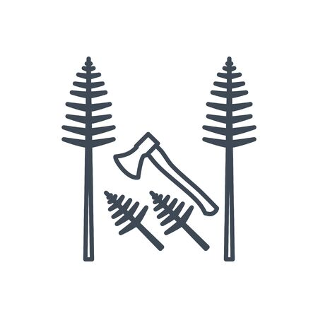 Thin line icon forestry and silviculture, cutting tree, axe Ilustração