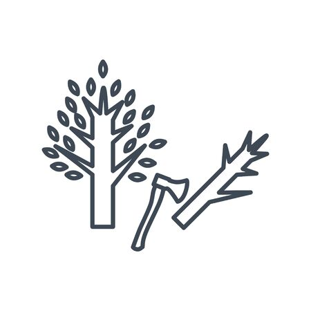 Thin line icon forestry and silviculture, cutting tree, axe Illustration