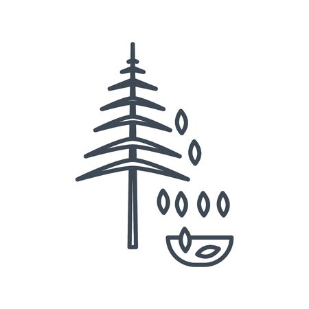 Thin line icon forestry and silviculture, seeds harvesting
