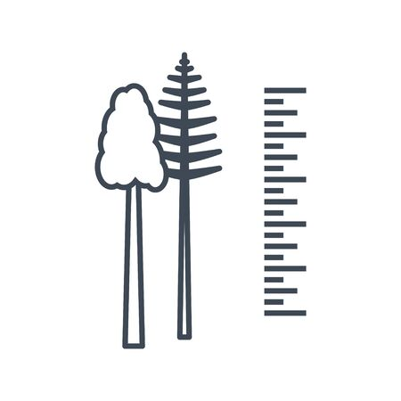 Thin line icon forestry and silviculture, tree measurement 向量圖像