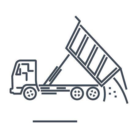 Transport terrestre de route de fret d'icône de ligne mince, camion à benne basculante à benne basculante