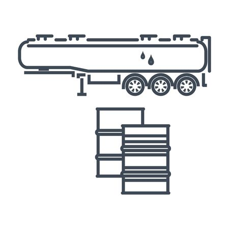 Thin line icon freight road land transport, fuel tanker semi-trailer