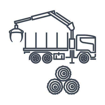 Thin line icon freight road land transport, forestry vehicle, forwarder and skidder