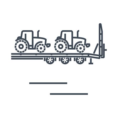 Thin line icon freight road land transport, car carrier trailer, tractor 일러스트