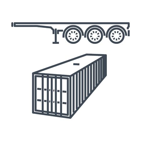 Thin line icon freight road land transport, container carrier semi-trailer 向量圖像