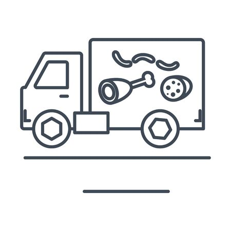 Thin line icon freight road land transport, food delivery truck