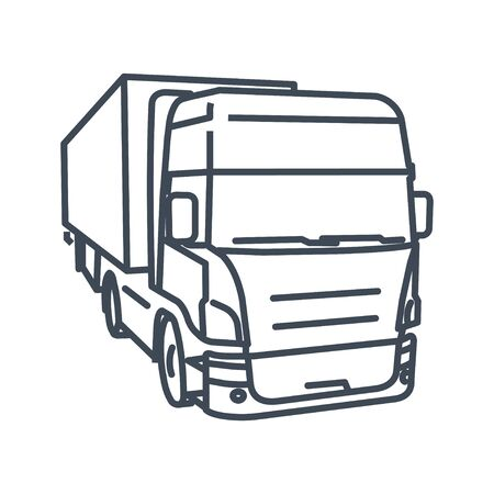 Thin line icon freight road land transport, truck and semi-trailer