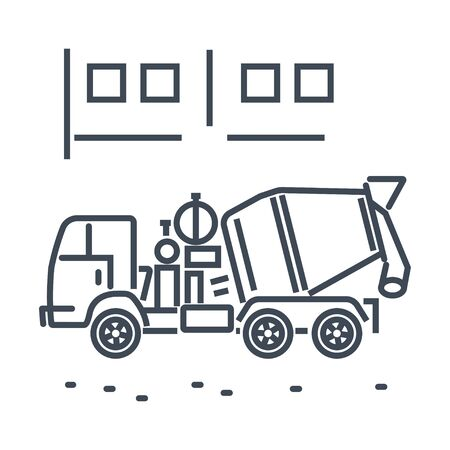 Thin line icon freight road land transport, concrete mixer truck Stock Illustratie