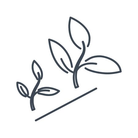 Thin line icon agriculture, growing plants