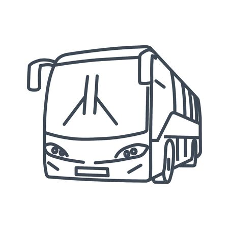 Thin line icon passenger road land transport, bus 矢量图像