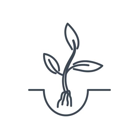 Thin line icon agriculture, plant seedling