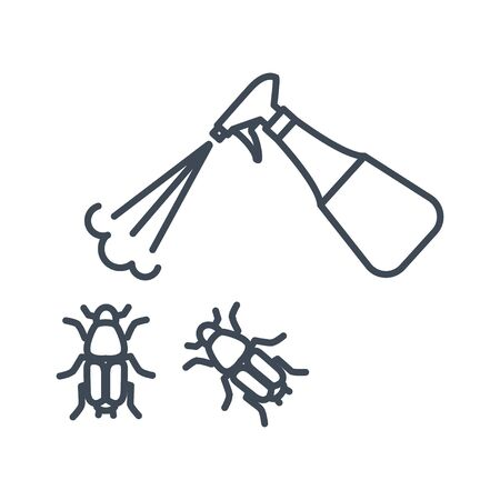Thin line icon agriculture, spraying pesticide, insecticide, bug