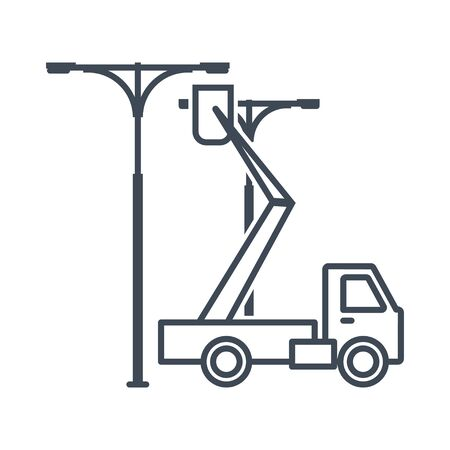 Thin line icon street lighting installation, service and maintenance Stock Illustratie