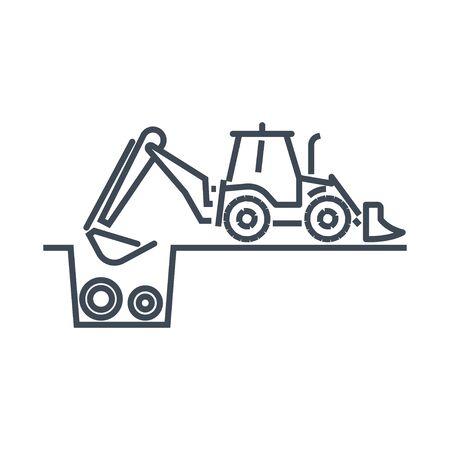 Thin line icon construction, repair and maintenance sewerage, water supply, bulldozer, excavator