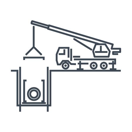 Thin line icon construction, repair and maintenance sewerage, water supply, truck crane Stock Illustratie