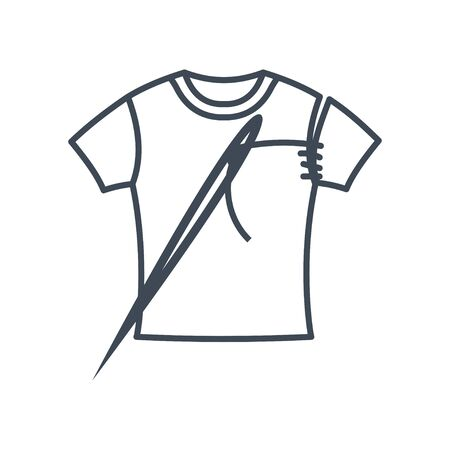 Thin line icon garment industry, tailoring, clothing repair, T-shirt, needle