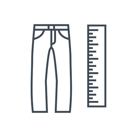 Thin line icon garment industry, clothing size, jeans, trousers