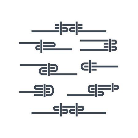 Thin line icon, garment industry, clothing stitches, seam Stock Illustratie