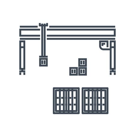 Thin line icon container industrial crane, loading